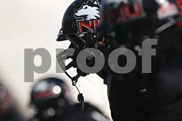 Rob Winner – rwinner@shawmedia.com<br /> <br /> Northern Illinois defensive tackle Corey Thomas (center) gets into position during a drill at practice at Huskie Stadium in DeKalb, Ill., Friday, March 29, 2013.