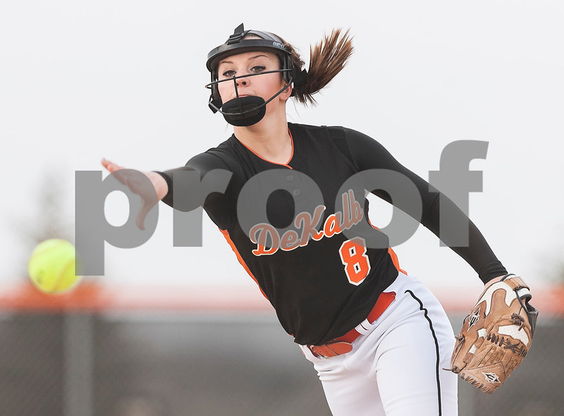 Erik Anderson - For the Daily Chronicle <br /> The Barbs Danika Thibault pitches to Hinsdale batters in the first inning of the match up at DeKalb High School in DeKalb on Friday, April 5, 2013.