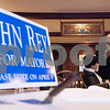 Erik Anderson - For the Daily Chronicle <br /> Mayoral candidate John Rey speaks to the attendees at the fundraiser event before dessert at the Hillside Restaurant in downtown DeKalb on Thursday, March 28, 2013.