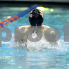 Sandy Bressner – sbressner@kcchronicle.com<br /> DeKalb's Michael Gordon swims the 100-yard breastroke during the IHSA State Meet preliminaries Friday at Evanston Township High School.