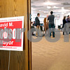 "Erik Anderson - For the Daily Chronicle <br /> A ""David M. Jacobson for Mayor"" sign sits propped up against a door during a fundraiser event held at the Best Western DeKalb Inn & Suites on Friday, March 29, 2013."