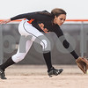 Erik Anderson - For the Daily Chronicle <br /> DeKalb's Jessica Townsend reaches for a grounder near second base during the match up at DeKalb High School in DeKalb on Friday, April 5, 2013.