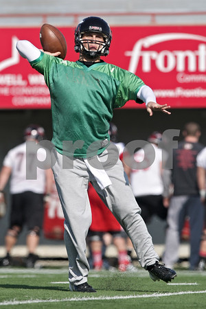 Rob Winner – rwinner@shawmedia.com<br /> <br /> Northern Illinois quarterback Matt McIntosh passes the ball during practice at Huskie Stadium in DeKalb, Ill., Friday, March 29, 2013.