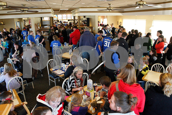 Erik Anderson - For the Daily Chronicle <br /> Countless amounts of people wait in the 40+ minute line for food during the Matthew Ranken benefit at Culver's in Sycamore on Tuesday, April 2, 2013. From 10 a.m. - 8:00 p.m. the restaurant has been collecting donations for the Ranken family, earning 50% of all total sales throughout the day.