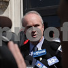 Rob Winner – rwinner@shawmedia.com<br /> <br /> Former DeKalb County State's Attorney Clay Campbell speaks to members of the media outside the DeKalb County Courthouse in Sycamore following the plea agreement of William Curl on Wednesday, April 3, 2013.