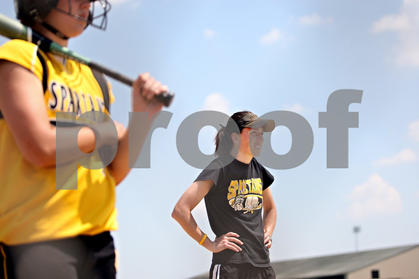 Rob Winner – rwinner@shawmedia.com<br /> <br /> Sycamore coach Jill Carpenter watches one of her batters up at the plate in the second inning of the IHSA Class 3A Sycamore Regional championship game on Saturday May 29, 2010 in Sycamore, Ill.