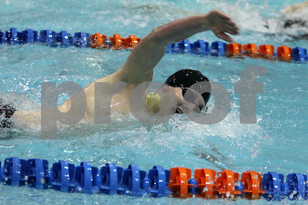 Sandy Bressner - sbressner@kcchronicle.com<br /> DeKalb's Chad Thompson swims the freestyle leg of the 200-yard individual medley during the IHSA State Meet preliminaries Friday at Evanston Township High School.