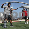 Rob Winner – rwinner@shawmedia.com<br /> <br /> Northern Illinois linebacker Boomer Mays works out with a rope during practice at Huskie Stadium in DeKalb, Ill., Friday, March 29, 2013.