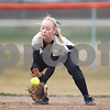 Erik Anderson - For the Daily Chronicle <br /> Sycamore's Tristyn Criswell picks up a grounder during early gameplay action as DeKalb hosted Sycamore at the Huntley Middle School park softball field on Thursday, April 11, 2013. The Barbs defeated the Spartans 3-1 making the Barbs a perfect 10-0.