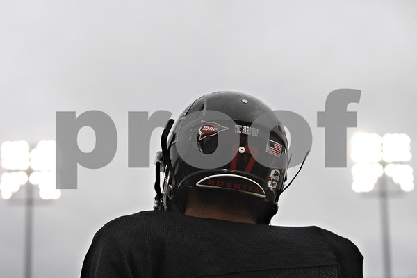 "Rob Winner – rwinner@shawmedia.com<br /> <br /> A sticker with the words ""The Hard Way,"" is seen on the back of Northern Illinois cornerback Marckie Hayes' helmet during practice at Huskie Stadium in DeKalb, Ill., Friday, April 12, 2013."