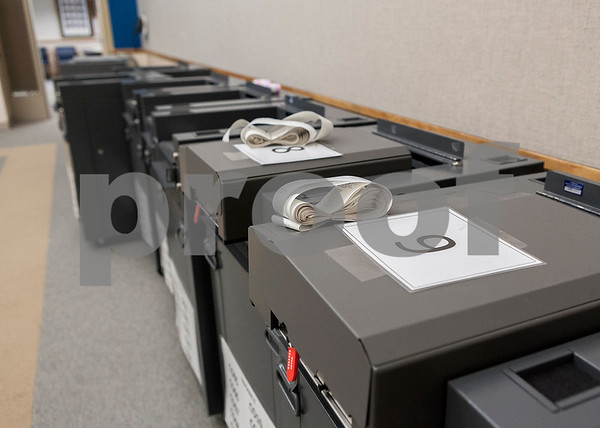 Erik Anderson - For the Daily Chronicle <br /> Voting machines sit waiting to be moved for the April 9th elections at the DeKalb County Administration and Legislative Buildings in Sycamore on Saturday, April 6, 2013.