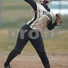 Erik Anderson - For the Daily Chronicle <br /> Sycamore's Jordan Schultz throws to first base during the match up of DeKalb and Sycamore at the Huntley Middle School park softball field on Thursday, April 11, 2013. The Barbs defeated the Spartans 3-1 making the Barbs a perfect 10-0.