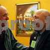 Rob Winner – rwinner@shawmedia.com<br /> <br /> Current DeKalb mayor Kris Povlsen (left) shakes hands with John Rey just before his victory to become the next DeKalb mayor at Eduardo's Mexican Restaurant in DeKalb, Ill., Tuesday, April 9, 2013.
