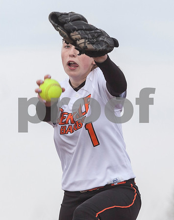 Erik Anderson - For the Daily Chronicle <br /> DeKalb's Katie Kowalski pitches to Yorkville batters during the 6th inning as DeKalb hosted Yorkville at DeKalb High School on Tuesday, April 16, 2013. Yorkville defeated DeKalb 3-2.