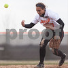Erik Anderson - For the Daily Chronicle <br /> DeKalb short stop Jessica Townsend misses the ball, allowing Yorkville to get a run in the 6th inning to eventually defeat DeKalb 3-2 at DeKalb High School on Tuesday, April 16, 2013.
