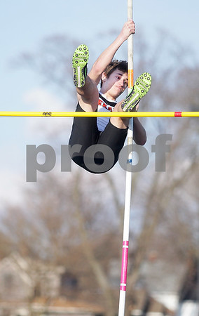 Monica Maschak - mmaschak@shawmedia.com<br /> DeKalb's Dennis Spyratos tried to clear the bar during the pole vault event at the Sycamore Gib Seegers Classic for boys track and field on Friday, April 26, 2013.