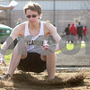 Monica Maschak - mmaschak@shawmedia.com<br /> Sycamore's Alex Taylor marks his landing during the long jump event at the Sycamore Gib Seegers Classic for boys track and field on Friday, April 26, 2013.