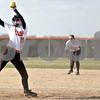 Monica Maschak - mmaschak@shawmedia.com<br /> DeKalb's Morgan Newport winds up on a pitch during a game against Kaneland at DeKalb High School on Thursday, April 25, 2013. The Knights beat the Barbs 4-3.