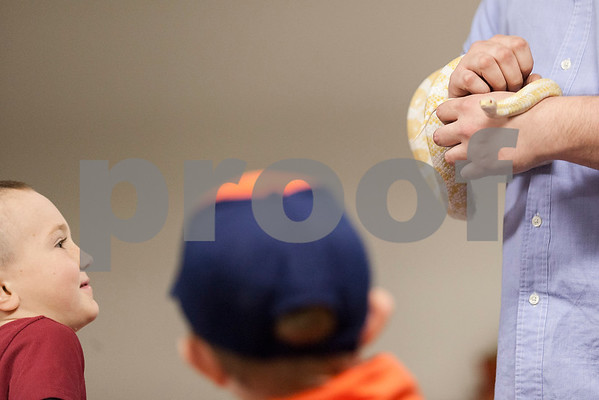 "Erik Anderson - For the Daily Chronicle <br /> Elio RIzzi, 6, of Kaneville (left) and Zachery Behm, 7, of Kanville (right) wait to pet ""Corny"" the corn snake held by Guest Services member Philip Krepel during the themed Earth Day event for Den #12, Elburn Pack #107's visit to The Midwest Museum of Natural History in Sycamore on Sunday, April 21, 2013."