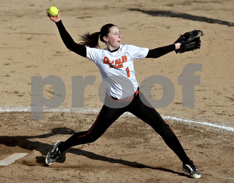 Monica Maschak - mmaschak@shawmedia.com<br /> DeKalb's Katie Kowalski throws a pitch during a game against Kaneland at DeKalb High School on Thursday, April 25, 2013. The Knights beat the Barbs 4-3.