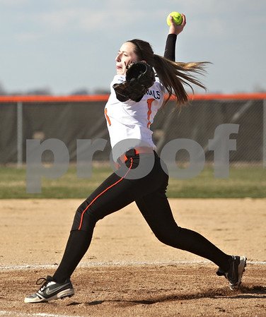 Monica Maschak - mmaschak@shawmedia.com<br /> DeKalb's Katie Kowalski throws a pitch during a game against Kaneland at DeKalb High School on Thursday, April 25, 2013. The Knights beat the Barbs 4-3.