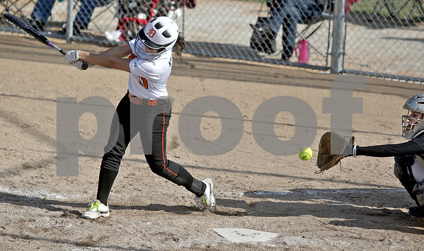 Monica Maschak - mmaschak@shawmedia.com<br /> DeKalb's Sabrina Killeen misses a ball as Kaneland's catcher Paige Kuefler opens her mitt during Thursday's game. The Knights beat the Barbs 4-3.