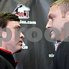 Rob Winner – rwinner@shawmedia.com<br /> <br /> Northern Illinois special teams coordinator and linebackers coach Kevin Kane (left) and offensive line coach Joe Tripodi pose for a photograph after a press conference at the Yordon Center on the NIU campus in DeKalb, Ill., on Tuesday, April 16, 2013, ahead of Saturday's inaugural Huskie Bowl. Kane will be coaching the Cardinal team and Tripodi will be coaching the Black team.