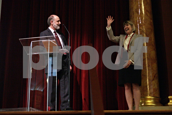 Rob Winner – rwinner@shawmedia.com<br /> <br /> Dr. Douglas D. Baker (left) introduces his wife Dana L. Stover at Altgeld Hall on the Northern Illinois University campus in DeKalb, Ill., Tuesday, April 2, 2013. Baker will become the 12th NIU president beginning on July 1.<br /> <br /> ***CHICAGO LOCALS AND ROCKFORD OUT***