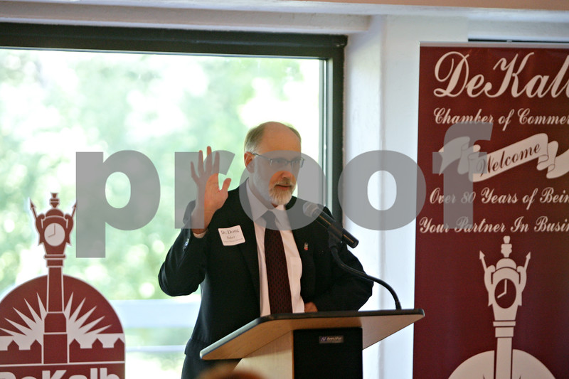 Rob Winner – rwinner@shawmedia.com<br /> <br /> Northern Illinois University President Doug Baker speaks during the state of the city meeting on Thursday morning at the Hopkins Park Community Center in DeKalb, Ill.