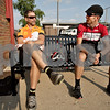 Monica Maschak - mmaschak@shawmedia.com<br /> Lenny Clapp and Dean Frieders chat before taking off on a 34-mile bike ride as part of the non-profit Axletree group on Wednesday, July 31, 2013. Wednesday's route takes them on a loop in a Southwest direction.