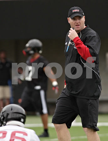 Rob Winner – rwinner@shawmedia.com<br /> <br /> Head coach Rod Carey during the first practice of the season at Northern Illinois University in DeKalb, Ill., Monday, Aug. 5, 2013.