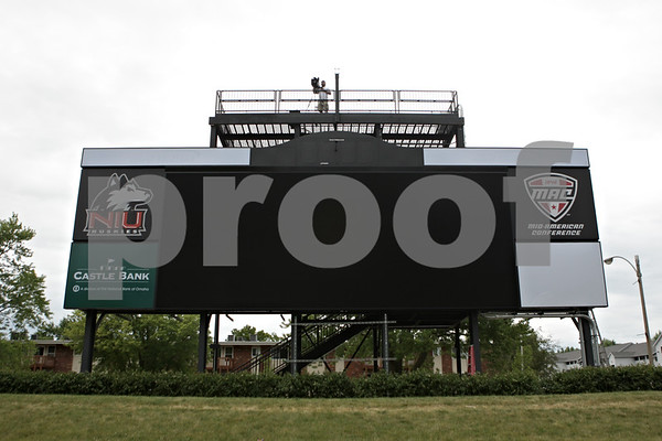 Rob Winner – rwinner@shawmedia.com<br /> <br /> The new scoreboard as seen during the first practice of the season at Northern Illinois University in DeKalb, Ill., Monday, Aug. 5, 2013.