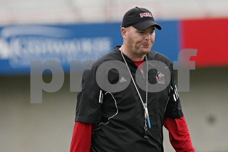 Rob Winner – rwinner@shawmedia.com<br /> <br /> Head coach Rod Carey during the first practice of the season at Northern Illinois University in DeKalb, Ill., Monday, Aug. 5, 2013.