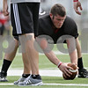Rob Winner – rwinner@shawmedia.com<br /> <br /> Northern Illinois' Brian Mayer practices long snapping the ball during practice at Huskie Stadium in DeKalb, Ill., Tuesday, Aug. 13, 2013.
