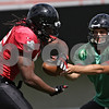 Rob Winner – rwinner@shawmedia.com<br /> <br /> Northern Illinois quarterback Matt McIntosh hands off the ball during practice at Huskie Stadium in DeKalb, Ill., Tuesday, Aug. 13, 2013.