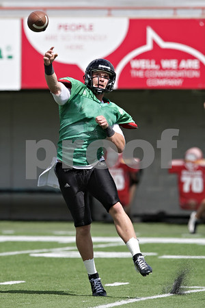 Rob Winner – rwinner@shawmedia.com<br /> <br /> Northern Illinois quarterback Jordan Lynch passes the ball during practice at Huskie Stadium in DeKalb, Ill., Tuesday, Aug. 13, 2013.