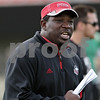 Rob Winner – rwinner@shawmedia.com<br /> <br /> Northern Illinois wide receivers coach Thad Ward during practice at Huskie Stadium in DeKalb, Ill., Tuesday, Aug. 13, 2013.