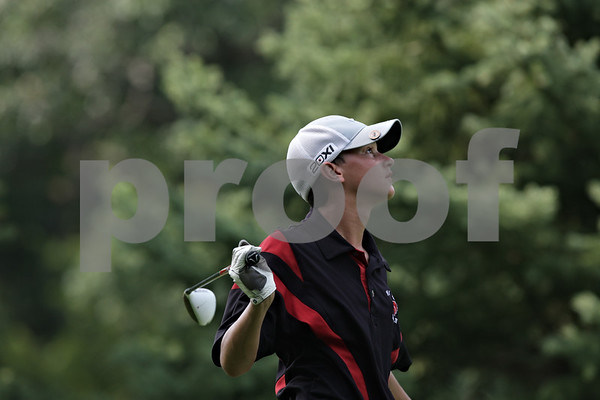 Rob Winner – rwinner@shawmedia.com<br /> <br /> Indian Creek's Peyton Gatz follows his ball after teeing off on the third hole at Kishwaukee Country Club in DeKalb on Monday, Aug. 26, 2013.