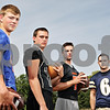 Rob Winner – rwinner@shawmedia.com<br /> <br /> Quarterbacks (From left to right) Genoa-Kingston's Griffin McNeal, Sycamore's Devin Mottet, DeKalb's Jack Sauter, and Hiawatha's Mike Mercado <br /> <br /> Friday, Aug. 9, 2013<br /> DeKalb, Ill.
