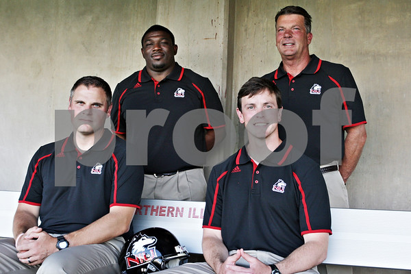 Rob Winner – rwinner@shawmedia.com<br /> <br /> (From left to right) Brett Diersen, Thad Ward, Kevin Kane, and Bob Cole<br /> NIU Football tab<br /> <br /> Wednesday, Aug. 7, 2013<br /> DeKalb, Ill.