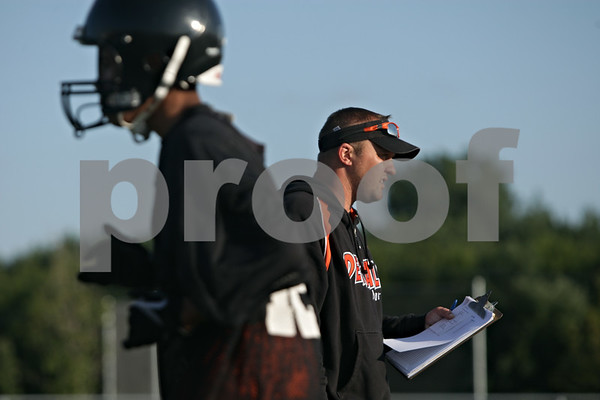 Rob Winner – rwinner@shawmedia.com<br /> <br /> DeKalb coach Matt Weckler during the first day of practice on Wednesday, Aug. 14, 2013.