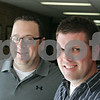 Rob Winner – rwinner@shawmedia.com<br /> <br /> Ben Doty (right), former Sycamore High School student and now English teacher, works alongside his former instructor Rich Majerus at SHS. Doty graduated from SHS in 2001 and is beginning his fifth year as an English teacher. Majerus has been teaching at the school for 18 years.<br /> <br /> Thursday, Aug. 8, 2013<br /> Sycamore, Ill.