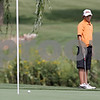 Rob Winner – rwinner@shawmedia.com<br /> <br /> DeKalb's Ben Melms watches his ball stop short of the seventh hole after a putt at Kishwaukee Country Club in DeKalb on Monday, Aug. 26, 2013.