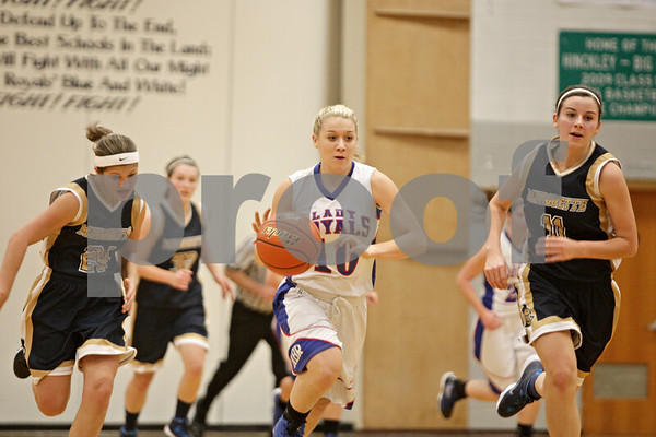 Rob Winner – rwinner@shawmedia.com<br /> <br /> After a steal, Hinckley-Big Rock's Jacqueline Madden goes to the basket during the first quarter in Hinckley on Monday, December 2, 2013.