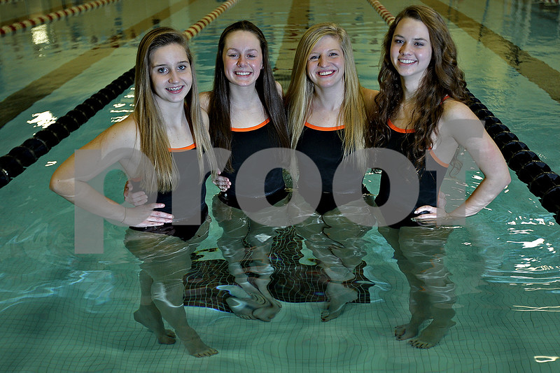 Monica Maschak - mmaschak@shawmedia.com<br /> Sophomores Alexa Miller, Kylie Olson, Jensen Keck and Bailey Flemming are the 2013 Daily Chronicle Girls Swimmers of the Year.