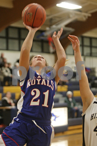 Rob Winner – rwinner@shawmedia.com<br /> <br /> Hinckley-Big Rock's Lauren Paver puts up a shot good for two points during the first quarter in Kirkland, Ill., Monday, Dec. 9, 2013.
