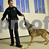 Monica Maschak - mmaschak@shawmedia.com<br /> Officer Aaron Gates tugs on a toy with police K-9 Tac at the DeKalb Police Station on Thursday, December 5, 2013. Tac was acquired by the department in August of this year and is the first K-9 the department has had in two years.