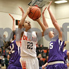Monica Maschak - mmaschak@shawmedia.com<br /> DeKalb's Ashlei Lopez shoots for two in the first quarter against Rochelle at DeKalb High School on Friday, December 20, 2013. The Barbs won, 70-39.