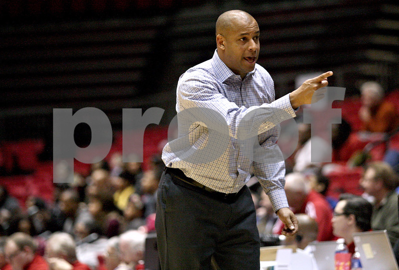 Monica Maschak - mmaschak@shawmedia.com<br /> Northern Illinois' Head Coach Mark Montgomery leads the team to a 6-5 record in the season after beating Bethune-Cookman, 65-51, on Friday, January 3, 2014.