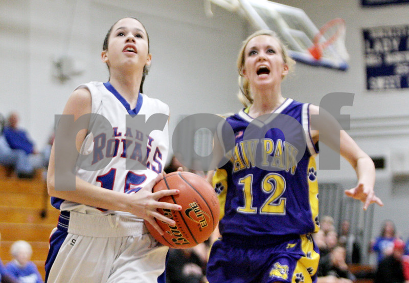 Rob Winner – rwinner@shawmedia.com<br /> <br /> After a steal, Hinckley-Big Rock's Lexi Gonzalez (15) goes to the basket for a layup in the fourth quarter during the Class 1A Hinckley-Big Rock Regional semifinal in Hinckley, Ill., Tuesday Feb.5, 2013. H-BR defeated Paw Paw, 45-18.